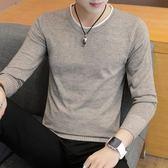 長袖t恤男士韓版圓領針織打底衫純色衣男上衣服吾本良品