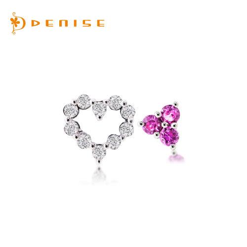 耳環 925純銀鍍白金「戀愛氣息」鑽石珠寶銀飾禮品/情人禮物