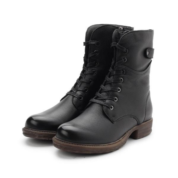 CHIC&F 真皮綁帶馬靴 黑 519-3 女鞋 鞋全家福