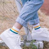 條紋中筒襪(1雙) 襪子 棉襪 學生襪 情侶襪 長襪 半統襪 彈性襪 運動襪 透氣 吸汗【Z009】慢思行