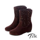 【韓國T2R】奢華水鑽真皮內增高短靴 ↑7cm 咖啡(5600-0082)
