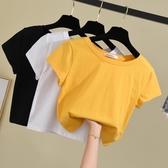 短版上衣 白色T恤女短袖2020新款夏修身素色體恤韓版純棉高腰露臍短款上衣 小宅女