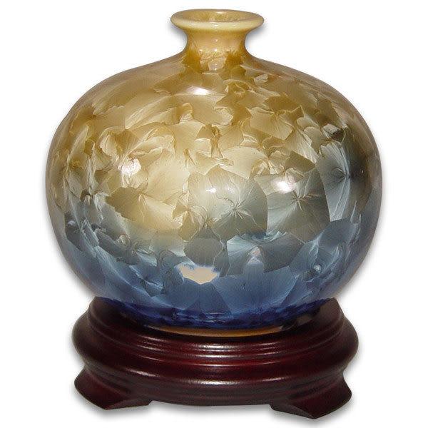 鹿港窯~居家開運結晶釉~4.5英吋特小雲瓶花瓶;購物清單:1件