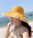 帽子女夏遮陽帽遮臉防曬帽韓版百搭防紫外線太陽帽超大帽檐漁夫帽【快速出貨】