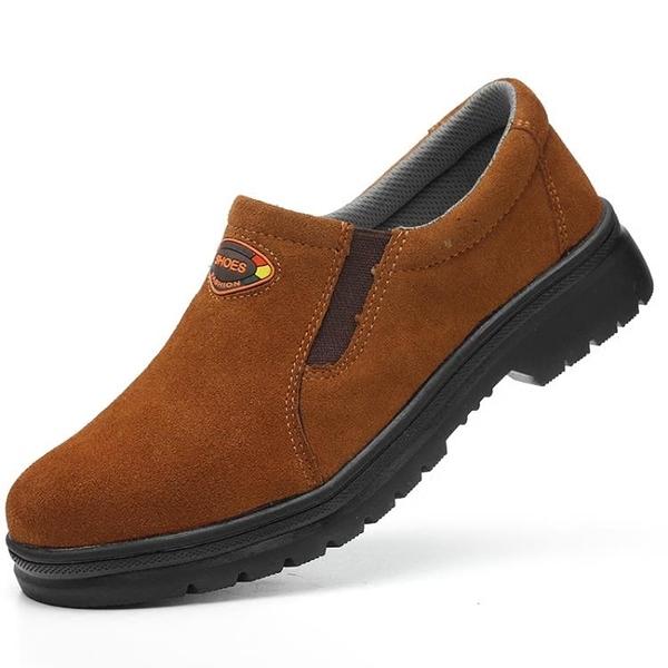 工作鞋 新品電焊勞保鞋男一腳蹬防砸防刺耐磨鋼板工作鞋防臭透氣電焊工鞋 歐歐