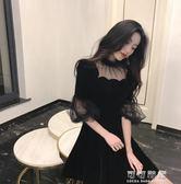 復古優雅氣質五分袖拼接網紗洋裝赫本小黑裙修身收腰氣質禮服裙 可可鞋櫃