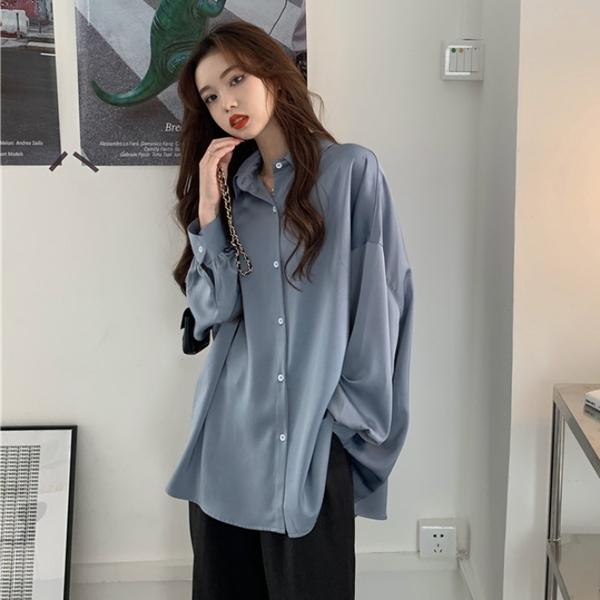 襯衫 女2021早春新款時尚復古港味設計感小眾輕熟氣質長袖上衣【牛年大吉】
