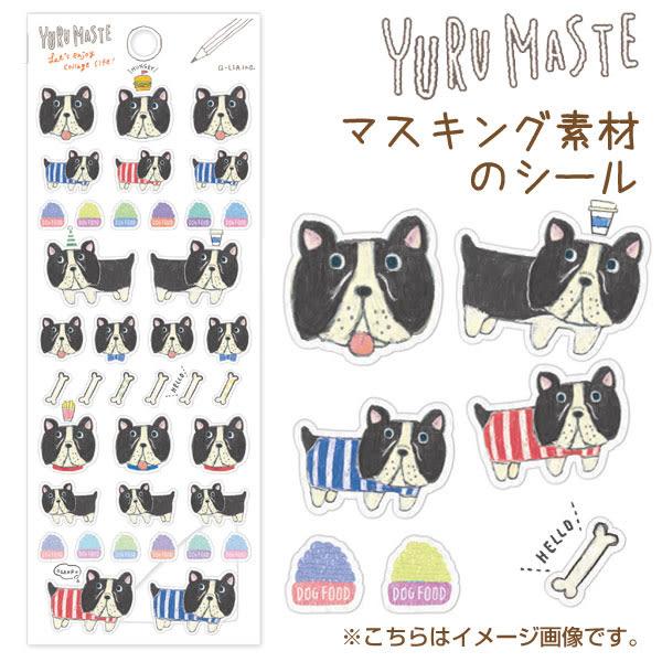 Hamee 日本 可愛插畫 日式雜貨 手作DIY禮物 半透明 造型貼紙 (法國鬥牛犬) 635-014242