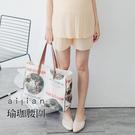 愛戀小媽咪 孕婦褲 細壓褶短褲 珈瑜腰圍 F、XL