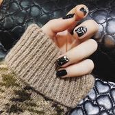 黑五好物節  假指甲貼片美甲 黑色彩色貝殼 新娘穿戴甲片成品短款美甲成品貼片