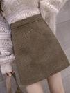 窄裙 格子半身裙女秋冬季加厚毛呢短裙子2020年新款高腰a字包臀裙褲子 快速出貨