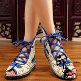 中式盤扣刺繡繡花鞋復古高幫系帶女士涼鞋布鞋漢服配鞋單鞋【尾牙交換禮物】