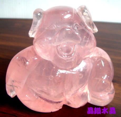 晶鑽水晶』天然星光粉晶小豬雕刻 精緻巧雕~天然色*超紅潤*免運費