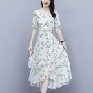 碎花連衣裙夏 氣質裙子女夏2021年新款小個子收腰顯瘦中長款碎花雪紡甜美連衣裙 設計師