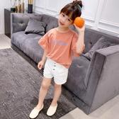 女童t恤短袖夏中大童上衣潮童裝2020新款韓版洋氣荷葉邊兒童半袖