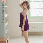 睡衣~神秘紫色國度柔緞面二件式睡衣 居家服內睡衣《Life Beauty》
