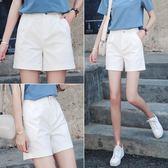 白色短褲女夏季2018新款五分褲黑色寬鬆正韓休閒高腰闊腿5分中褲(818來一發)