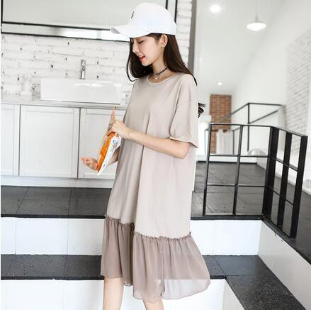 【現貨42】連身裙 韓版雪紡拼接寬鬆大碼短袖連衣裙 洋裝 L~卡其