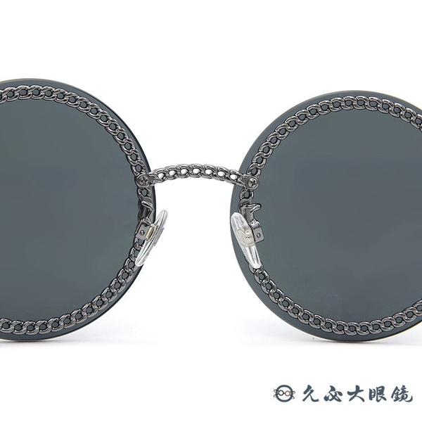 CHANEL 香奈兒 太陽眼鏡 4245 (鐵灰) 鍊環 圓框 附眼鏡鏈 墨鏡 久必大眼鏡