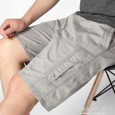夏季大碼短褲男裝爸爸裝純棉沙灘褲胖子褲子男寬鬆休閒男士五分褲-Ifashion