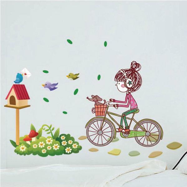壁貼 小鳥 信箱 單車女孩 創意壁貼 無痕壁貼 壁紙 牆貼 室內設計 裝潢【YV2790】Loxin