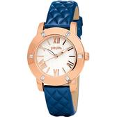 Folli Follie Donatella 璀璨水鑽亮采女錶-玫瑰金框x藍/34mm WF1B005SPS-BL