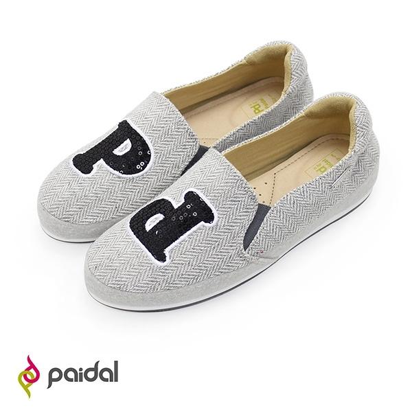 Paidal Pd閃亮片織紋布平底懶人鞋樂福鞋休閒鞋-灰