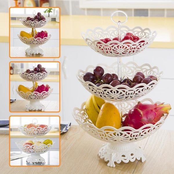 帶底座多層水果籃歐式現代客廳三層水果盤創意塑料乾果茶几點心盤【新店開業,限時85折】