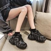 鬆糕鞋 黑色2021新款增高厚底韓版休閒鞋百搭學生運動鞋 艾莎