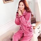 睡衣 秋冬珊瑚絨睡衣女士加厚長袖套裝冬季法蘭絨中老年大碼家居服【快速出貨八折特惠】