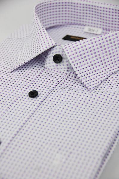 【金‧安德森】小圓紫點黑扣窄版長袖襯衫