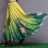 民族風長裙 裙子水墨印花雪紡半身裙沙灘大擺裙復古民族風長裙碎花