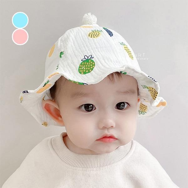 可愛鳳梨印花漁夫帽 童帽 漁夫帽 帽子