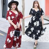 ★韓美姬★中大尺碼~收腰優雅荷葉邊短袖洋裝(XL~4XL)