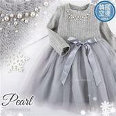 小名媛-珍珠坑條網紗長袖洋裝(280327)★水娃娃時尚童裝★