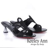 ★2019春夏★Keeley Ann造型透視跟 鏤空網紗水鑽拖鞋(黑色)-Ann系列