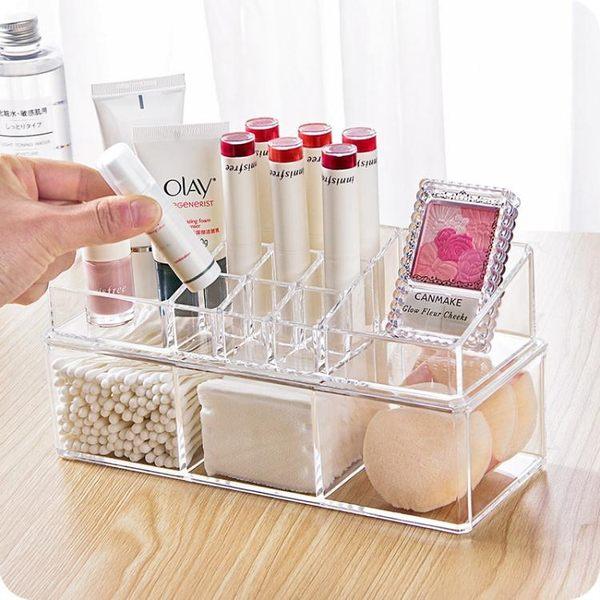 透明亞克力化妝品收納盒塑料桌面儲物盒化妝棉化妝刷防塵收納盒
