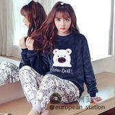 睡衣 珊瑚絨睡衣女秋冬季長袖加厚可愛韓版法蘭絨套裝家居服大碼 跨年狂歡慶
