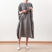 洋裝-長款寬版文藝簡約休閒復古女連身裙73sm49【巴黎精品】