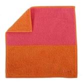 CELINE 經典素面雙色純棉小方巾(橘/桃紅) 989007-200