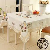 餐桌布藝田園歐式純棉麻手繡花小清新現代簡約台布茶幾長方形蓋巾