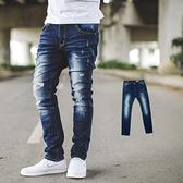 牛仔褲 韓國製深藍刷白小抓破合身牛仔褲【NB0637J】