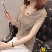 蕾絲上衣 女夏季洋氣短袖雪紡網紗時尚v領很仙的超仙打底小衫無袖
