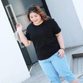 大尺碼 短袖t恤女白色純棉胖mm100公斤寬鬆內搭胖妹妹打底上衣加肥加大(mylove中大尺碼)