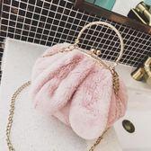 側背包  包包女2018新款耳朵包可愛軟萌斜挎手提小圓包時尚夾口鍊條毛毛包