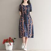 洋裝 連身裙 夏季新款中大尺碼 女裝民族風收腰寬鬆顯瘦系帶鬆緊腰棉麻中長款連衣裙  快速出貨