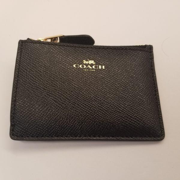 美國 COACH  黑色  PVC 鑰匙零錢包 可放信用卡 悠遊卡 限量特價款 ~$1190