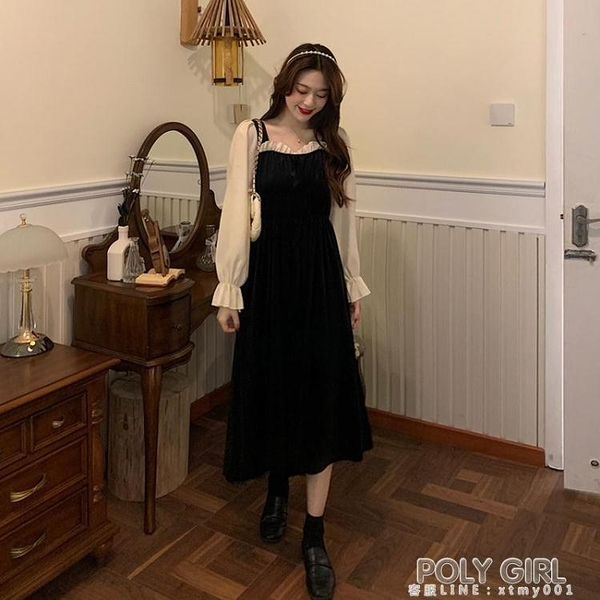 法式方領復古小黑裙秋裝2020新款氣質收腰顯瘦中長款長袖連身裙女 喜迎新春