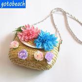 K.J時尚(WUNa07)純手工精美花朵包包海邊度假草編包沙灘包女編織斜挎小包