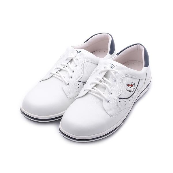 喜伯登 真皮綁帶休閒鞋 白 男鞋